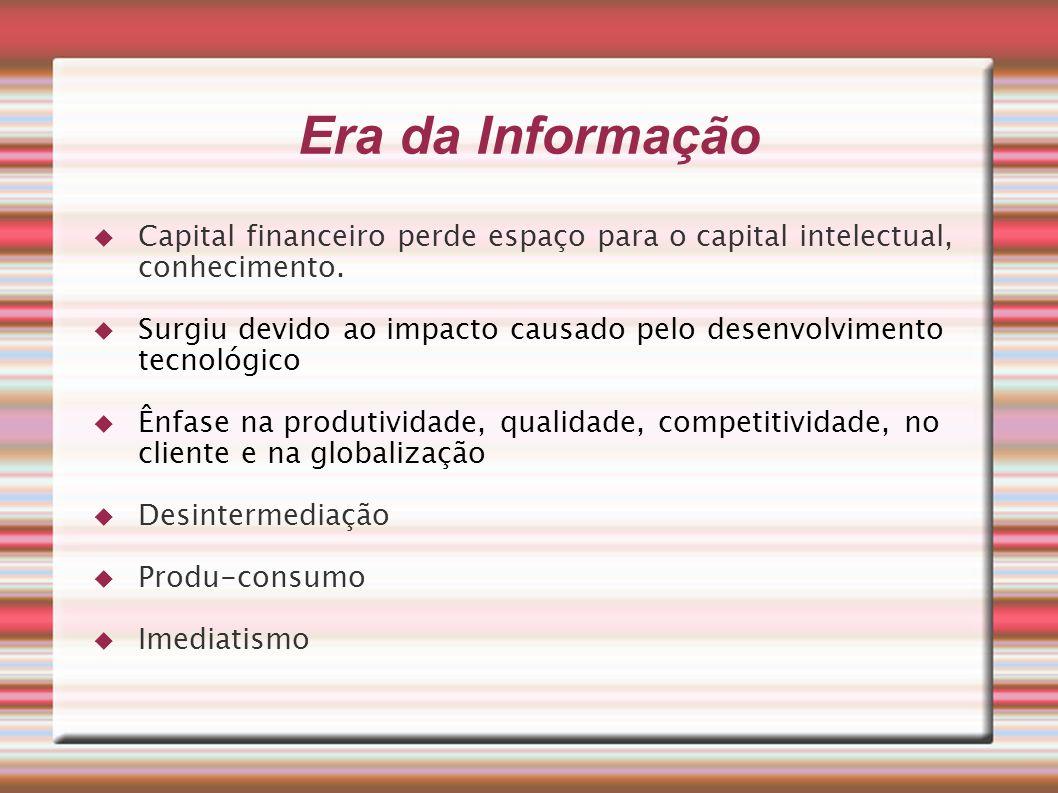 Era da Informação Capital financeiro perde espaço para o capital intelectual, conhecimento.