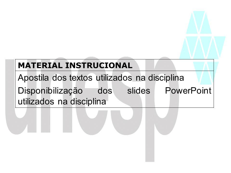 Apostila dos textos utilizados na disciplina