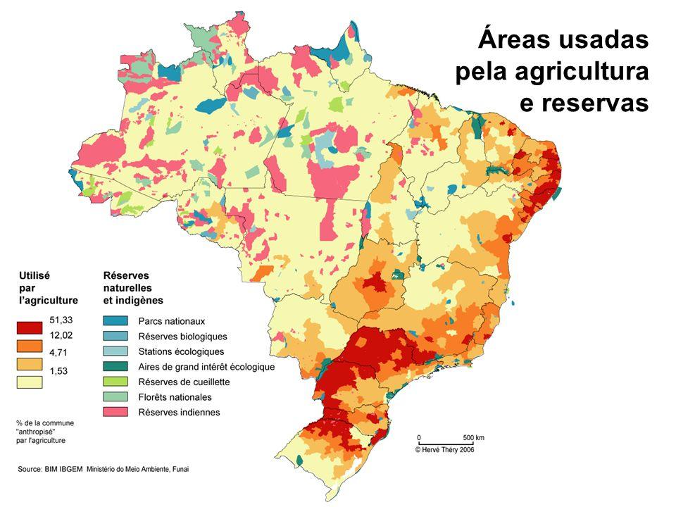 Áreas usadas pela agricultura e reservas