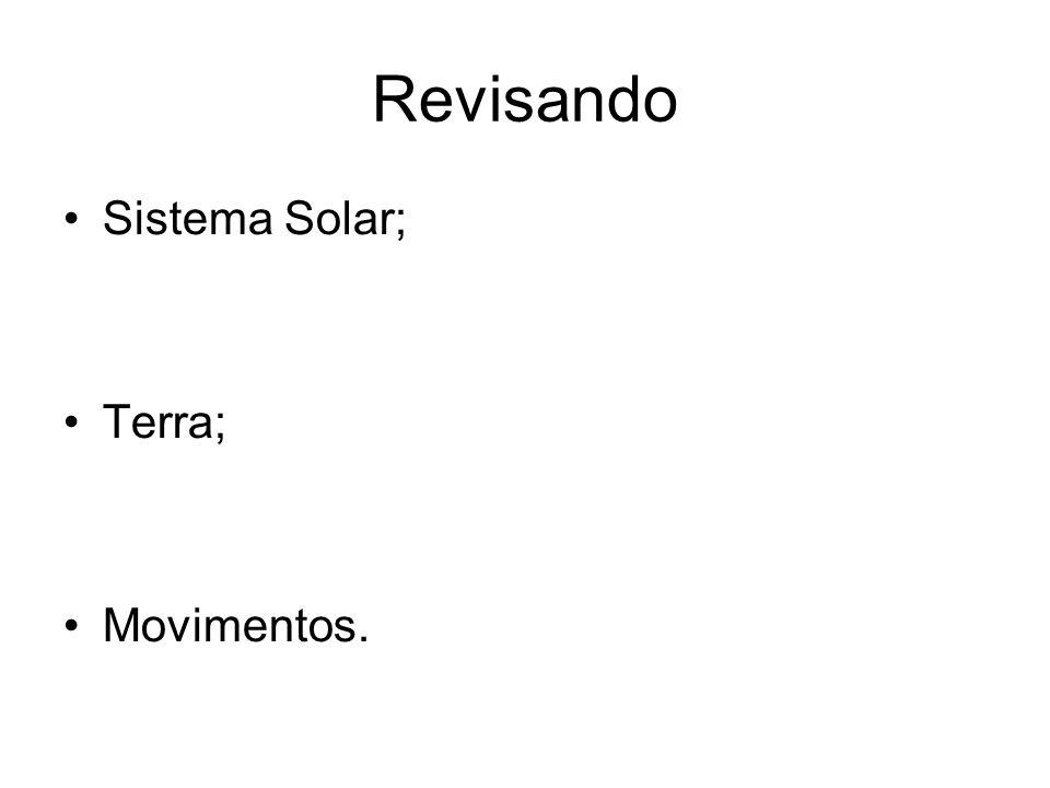 Revisando Sistema Solar; Terra; Movimentos.