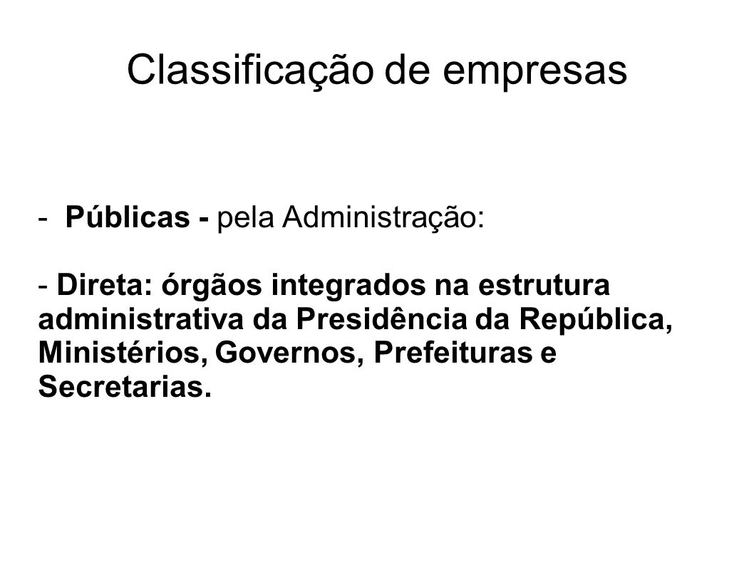 Classificação de empresas