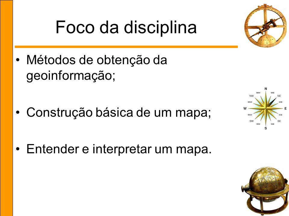 Foco da disciplina Métodos de obtenção da geoinformação;