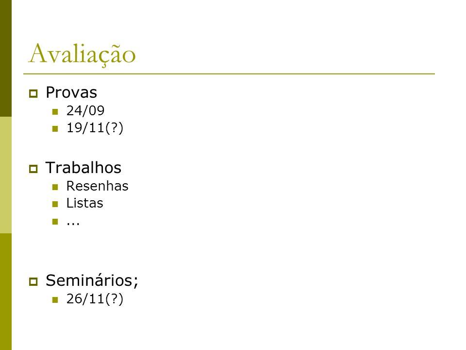 Avaliação Provas Trabalhos Seminários; 24/09 19/11( ) Resenhas Listas