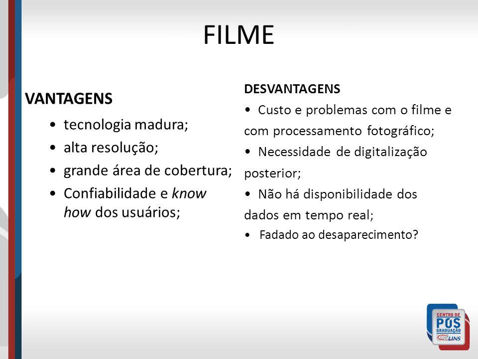 FILME VANTAGENS tecnologia madura; alta resolução;