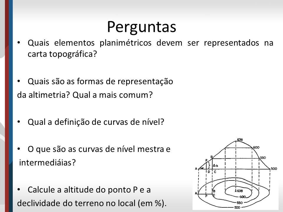 Perguntas Quais elementos planimétricos devem ser representados na carta topográfica Quais são as formas de representação.