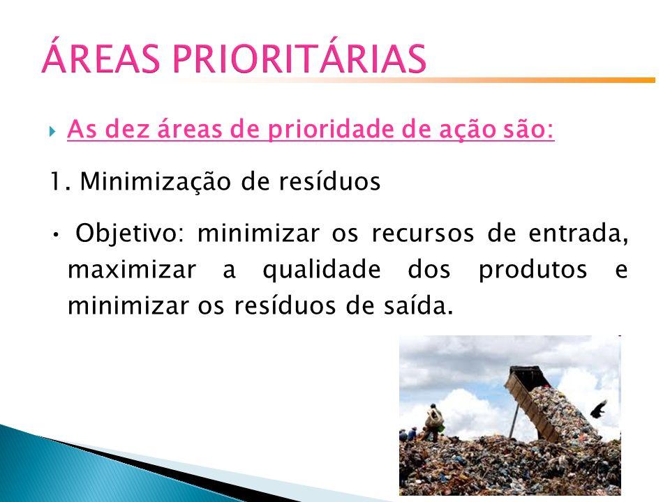 ÁREAS PRIORITÁRIAS As dez áreas de prioridade de ação são: