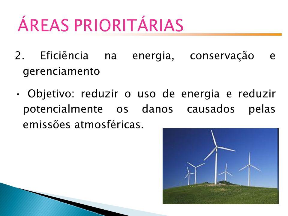 ÁREAS PRIORITÁRIAS 2. Eficiência na energia, conservação e gerenciamento.