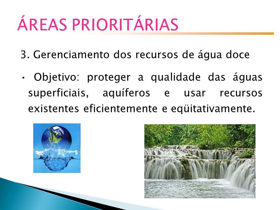 ÁREAS PRIORITÁRIAS 3. Gerenciamento dos recursos de água doce