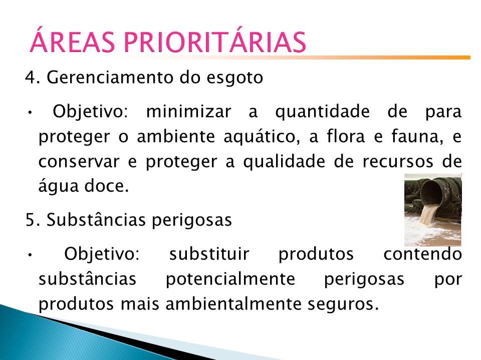 ÁREAS PRIORITÁRIAS 4. Gerenciamento do esgoto