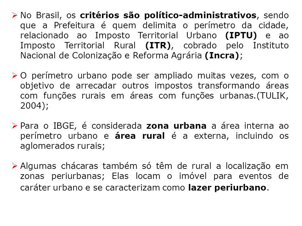 No Brasil, os critérios são político-administrativos, sendo que a Prefeitura é quem delimita o perímetro da cidade, relacionado ao Imposto Territorial Urbano (IPTU) e ao Imposto Territorial Rural (ITR), cobrado pelo Instituto Nacional de Colonização e Reforma Agrária (Incra);