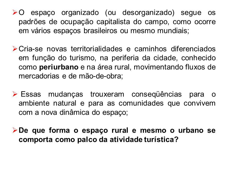 O espaço organizado (ou desorganizado) segue os padrões de ocupação capitalista do campo, como ocorre em vários espaços brasileiros ou mesmo mundiais;