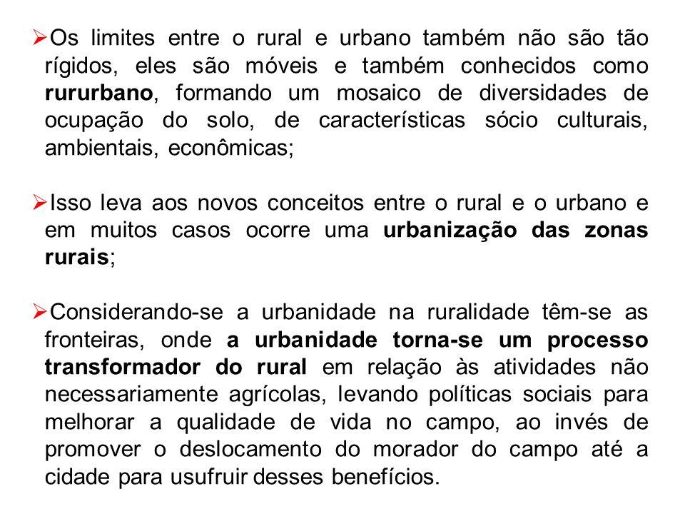Os limites entre o rural e urbano também não são tão rígidos, eles são móveis e também conhecidos como rururbano, formando um mosaico de diversidades de ocupação do solo, de características sócio culturais, ambientais, econômicas;