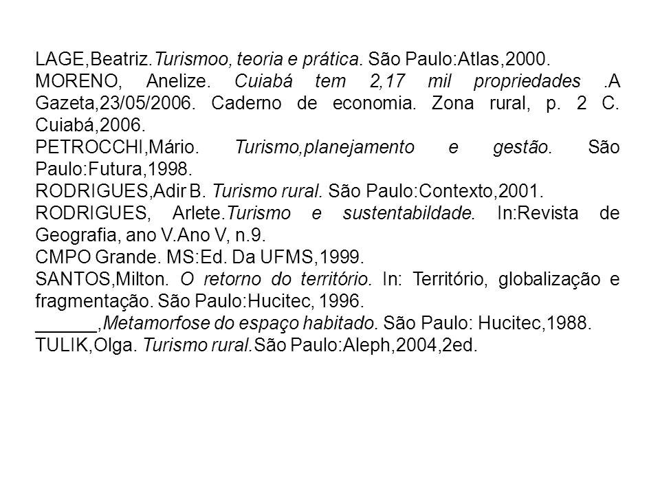 LAGE,Beatriz.Turismoo, teoria e prática. São Paulo:Atlas,2000.
