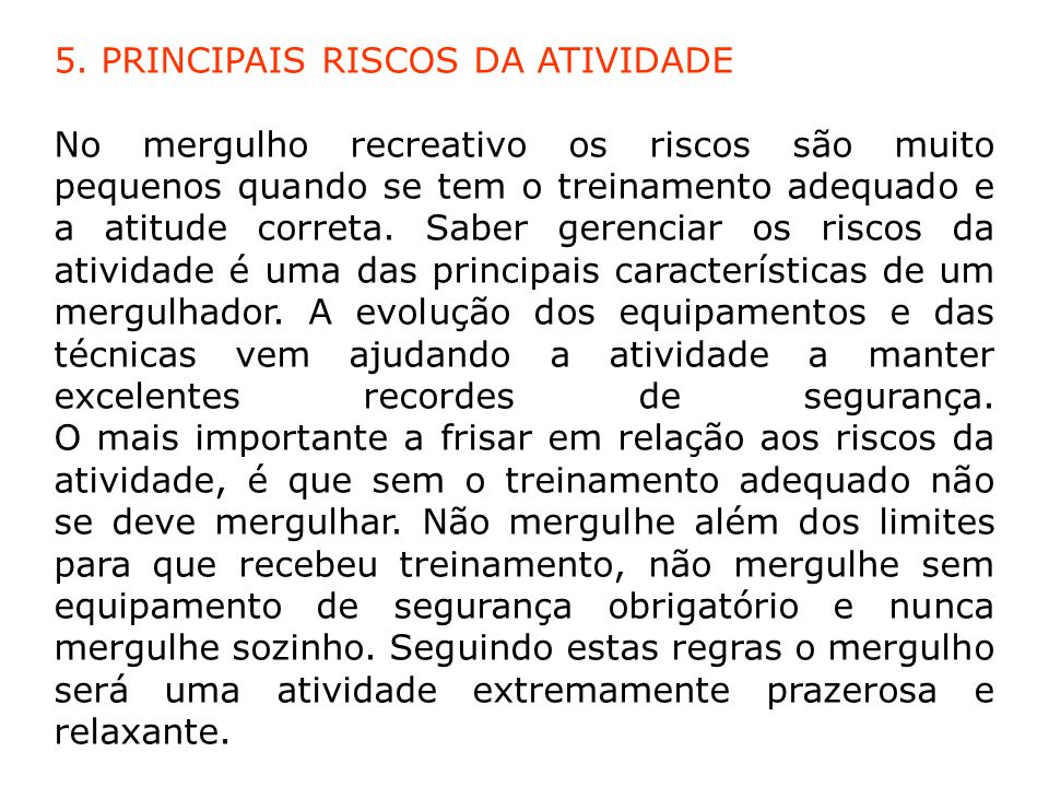5. PRINCIPAIS RISCOS DA ATIVIDADE