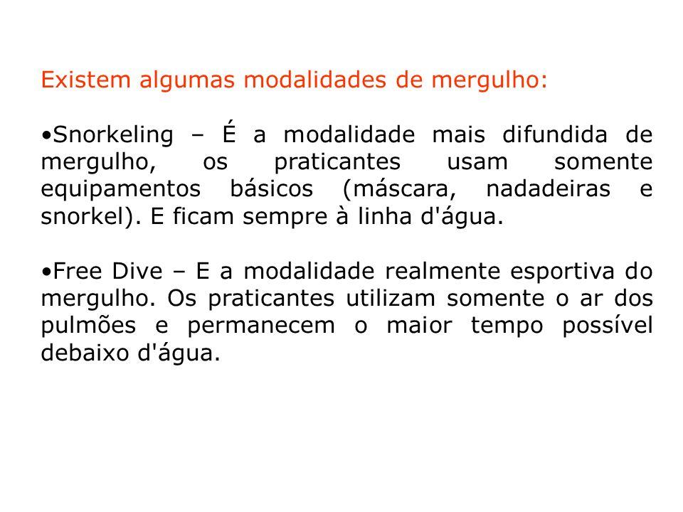 Existem algumas modalidades de mergulho:
