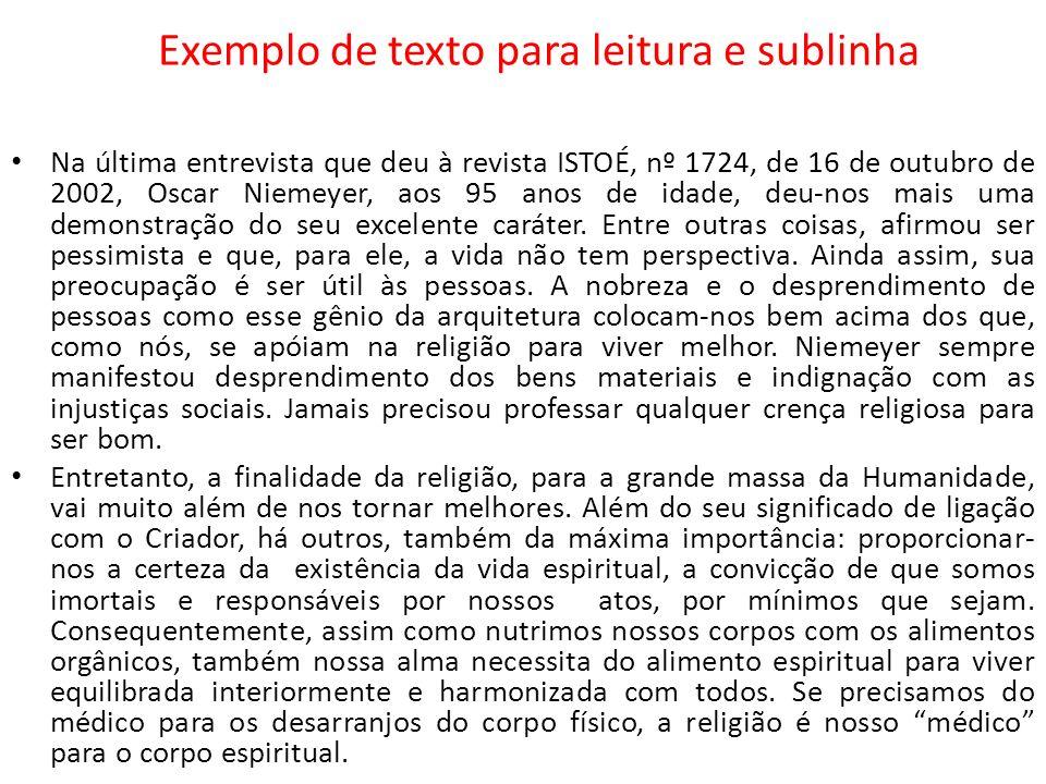 Exemplo de texto para leitura e sublinha