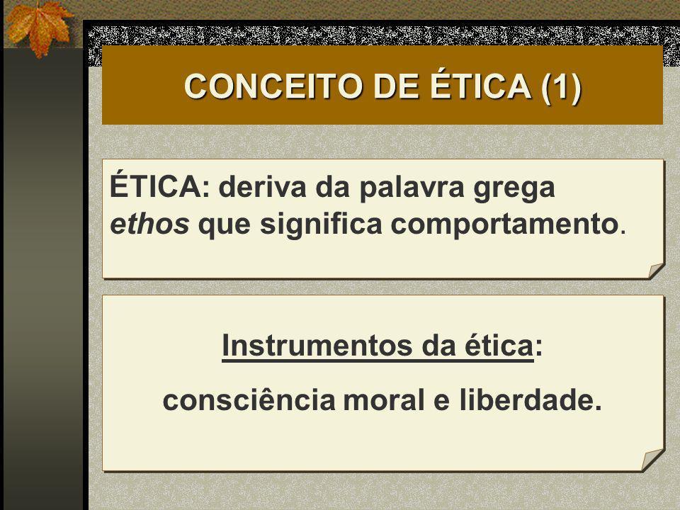 Instrumentos da ética: consciência moral e liberdade.