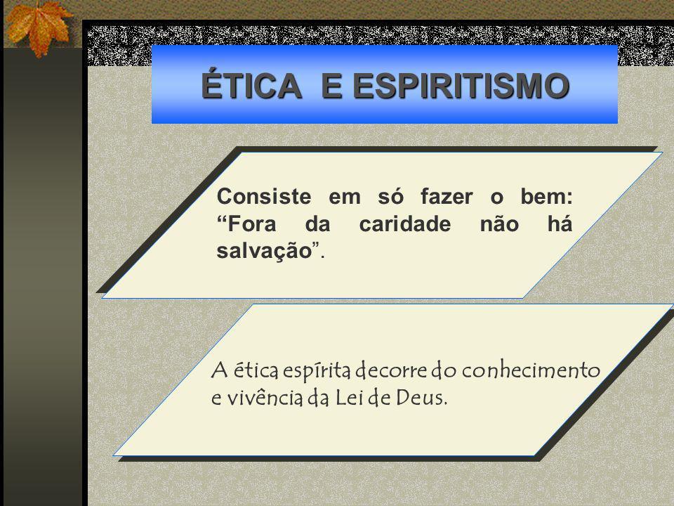 ÉTICA E ESPIRITISMOConsiste em só fazer o bem: Fora da caridade não há salvação .