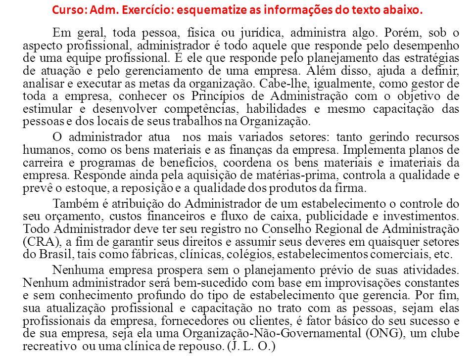 Curso: Adm. Exercício: esquematize as informações do texto abaixo.