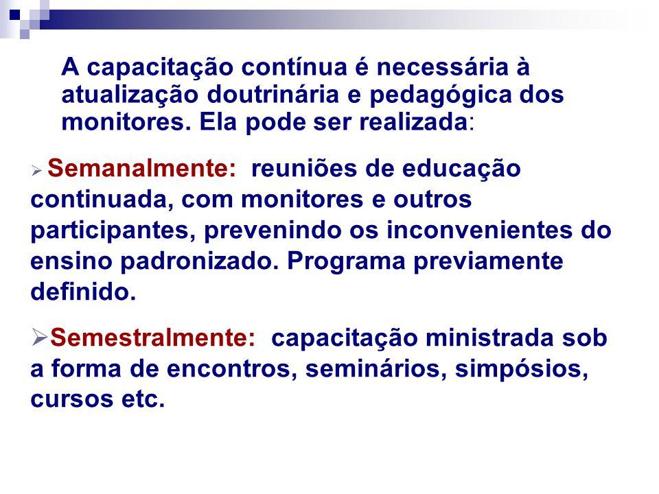 A capacitação contínua é necessária à atualização doutrinária e pedagógica dos monitores. Ela pode ser realizada: