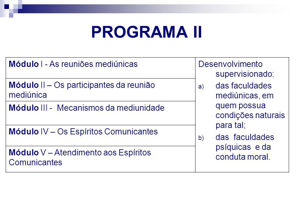 PROGRAMA II Módulo I - As reuniões mediúnicas