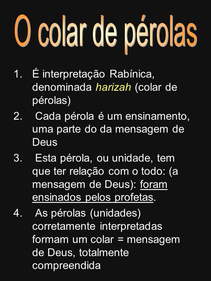 O colar de pérolas É interpretação Rabínica, denominada harizah (colar de pérolas) Cada pérola é um ensinamento, uma parte do da mensagem de Deus.