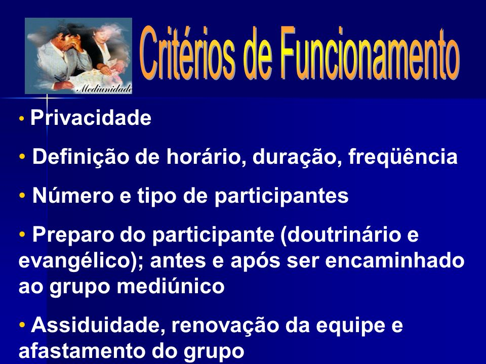 Critérios de Funcionamento