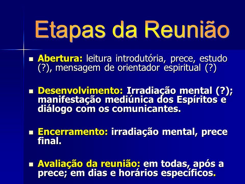Etapas da Reunião Abertura: leitura introdutória, prece, estudo ( ), mensagem de orientador espiritual ( )