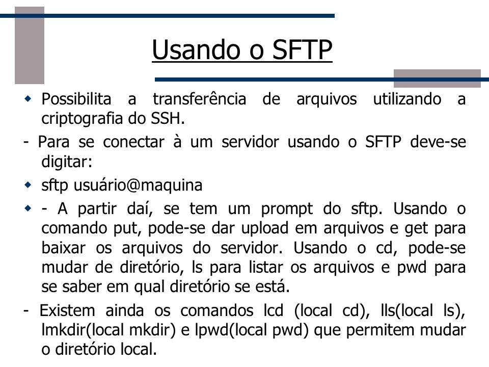 Usando o SFTP Possibilita a transferência de arquivos utilizando a criptografia do SSH.