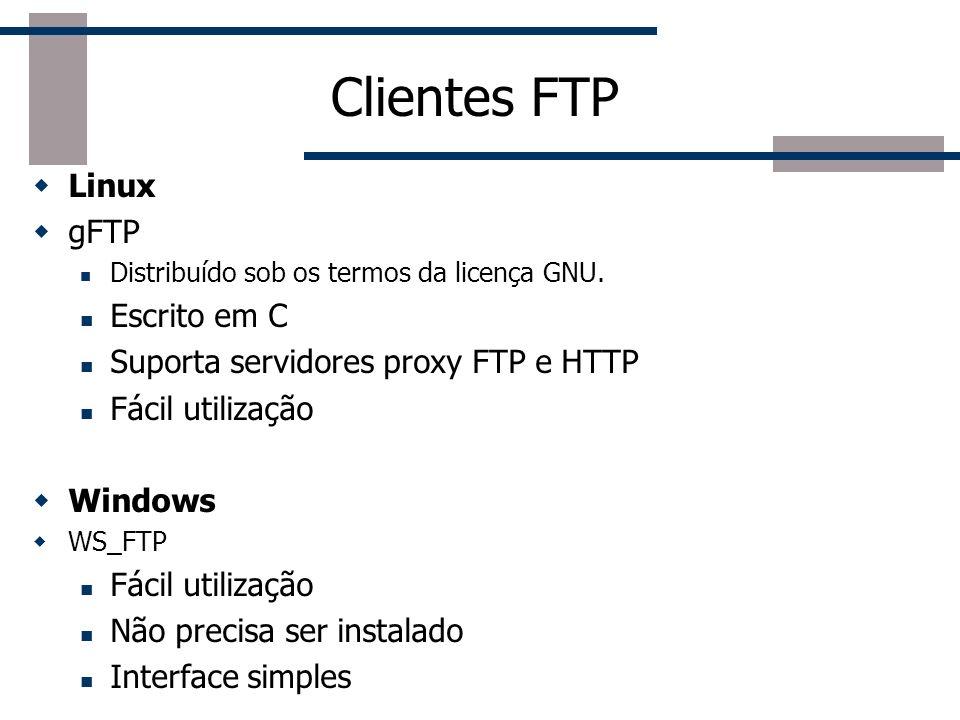 Clientes FTP Linux gFTP Escrito em C