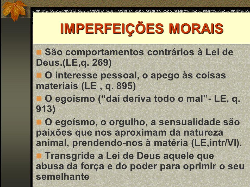 IMPERFEIÇÕES MORAIS São comportamentos contrários à Lei de Deus.(LE,q. 269) O interesse pessoal, o apego às coisas materiais (LE , q. 895)