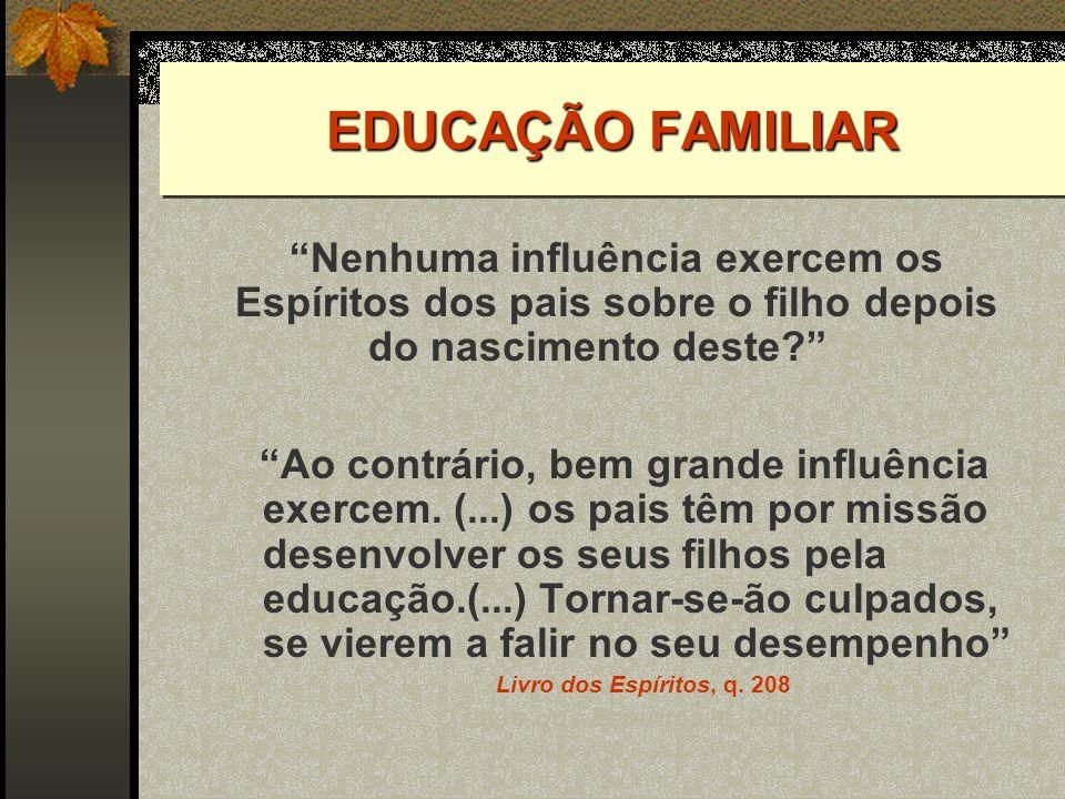 EDUCAÇÃO FAMILIAR Nenhuma influência exercem os Espíritos dos pais sobre o filho depois do nascimento deste O.