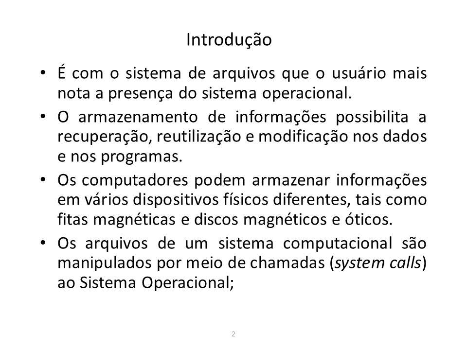 Introdução É com o sistema de arquivos que o usuário mais nota a presença do sistema operacional.