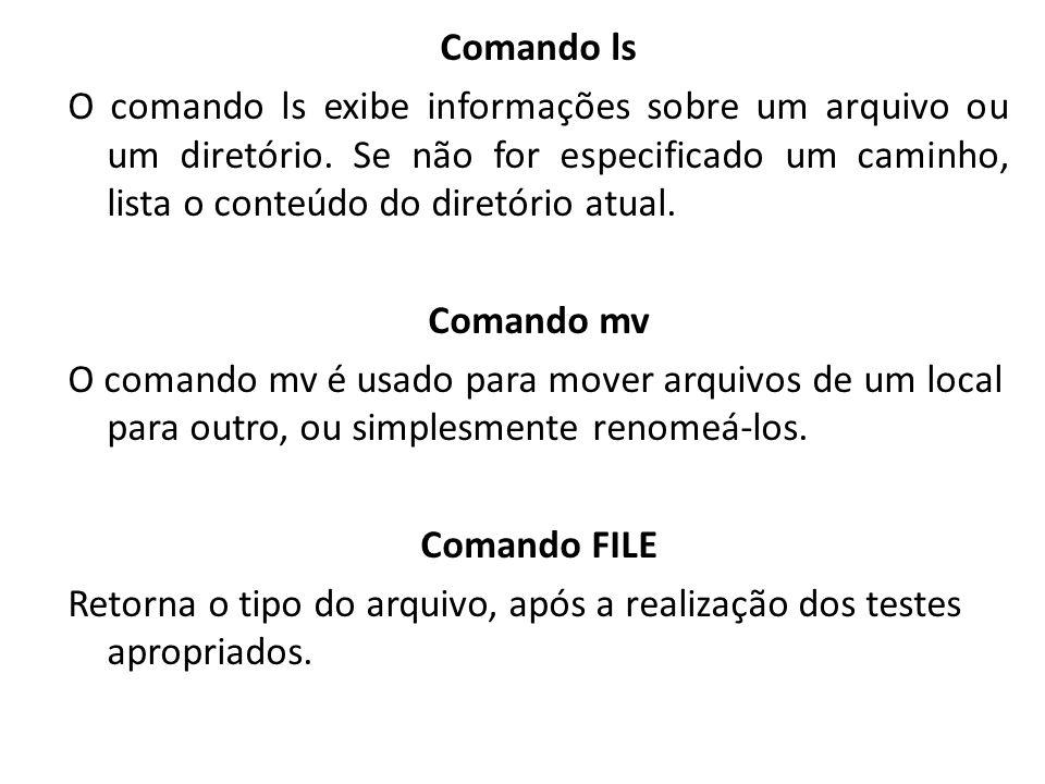 Comando ls O comando ls exibe informações sobre um arquivo ou um diretório.