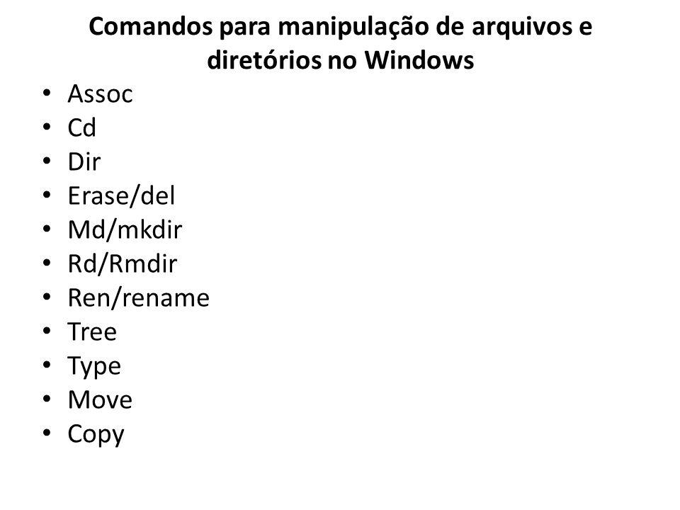 Comandos para manipulação de arquivos e diretórios no Windows