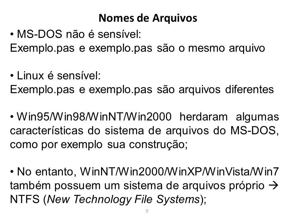 Nomes de Arquivos MS-DOS não é sensível: