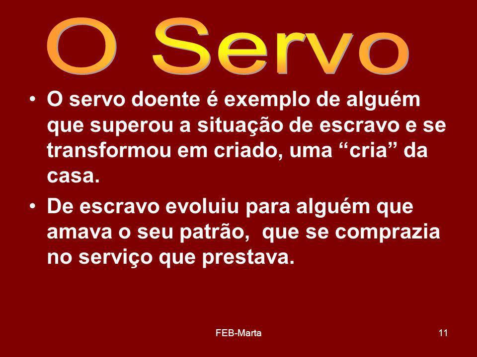 O Servo O servo doente é exemplo de alguém que superou a situação de escravo e se transformou em criado, uma cria da casa.