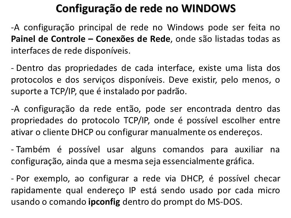 Configuração de rede no WINDOWS