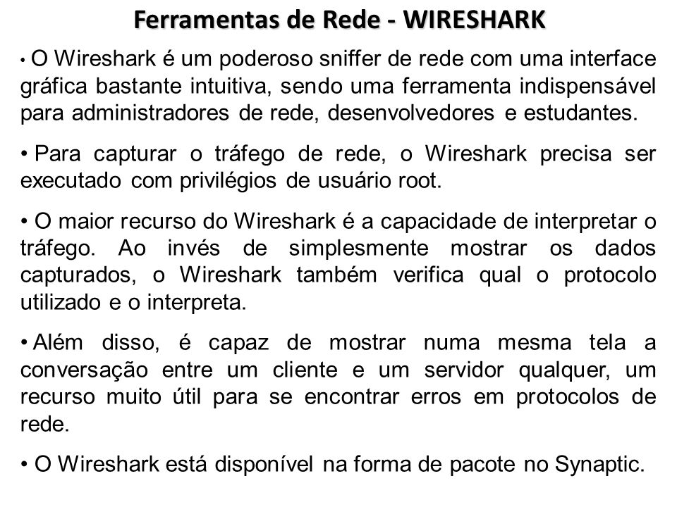 Ferramentas de Rede - WIRESHARK