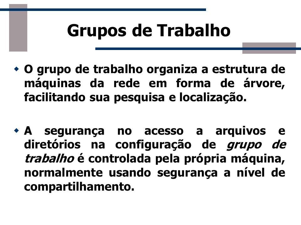 Grupos de TrabalhoO grupo de trabalho organiza a estrutura de máquinas da rede em forma de árvore, facilitando sua pesquisa e localização.