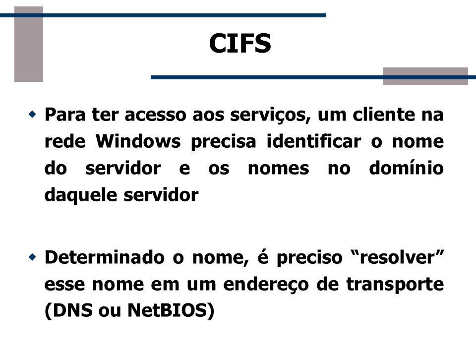 CIFS Para ter acesso aos serviços, um cliente na rede Windows precisa identificar o nome do servidor e os nomes no domínio daquele servidor.