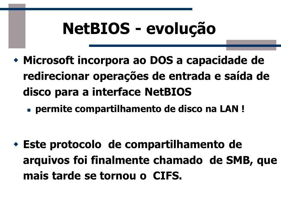 NetBIOS - evoluçãoMicrosoft incorpora ao DOS a capacidade de redirecionar operações de entrada e saída de disco para a interface NetBIOS.