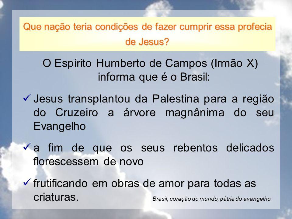 O Espírito Humberto de Campos (Irmão X) informa que é o Brasil: