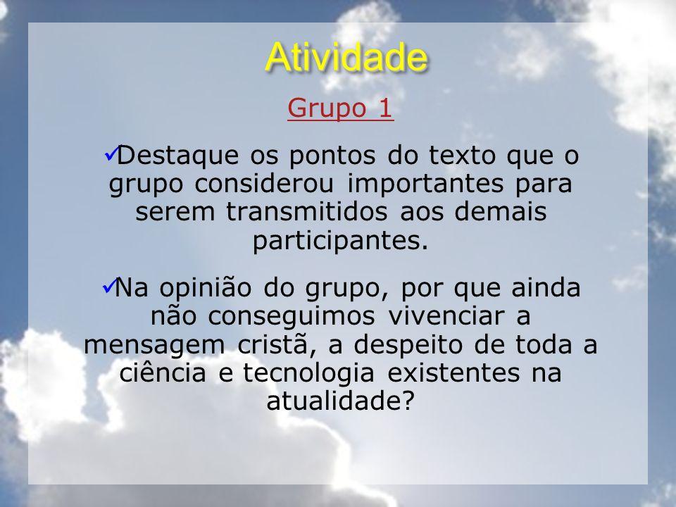 Atividade Grupo 1. Destaque os pontos do texto que o grupo considerou importantes para serem transmitidos aos demais participantes.