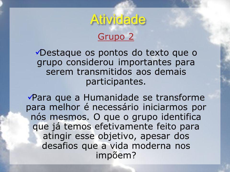 Atividade Grupo 2. Destaque os pontos do texto que o grupo considerou importantes para serem transmitidos aos demais participantes.