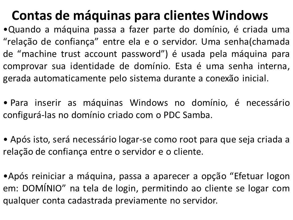 Contas de máquinas para clientes Windows