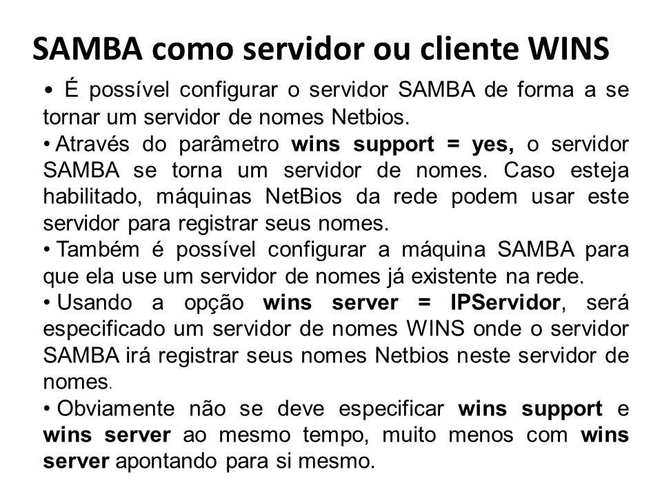 SAMBA como servidor ou cliente WINS