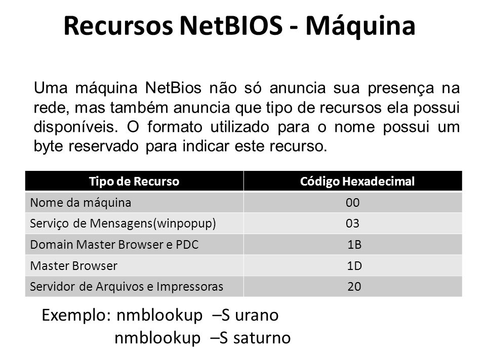 Recursos NetBIOS - Máquina