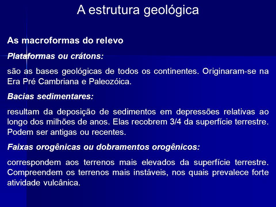 A estrutura geológica As macroformas do relevo Plataformas ou crátons: