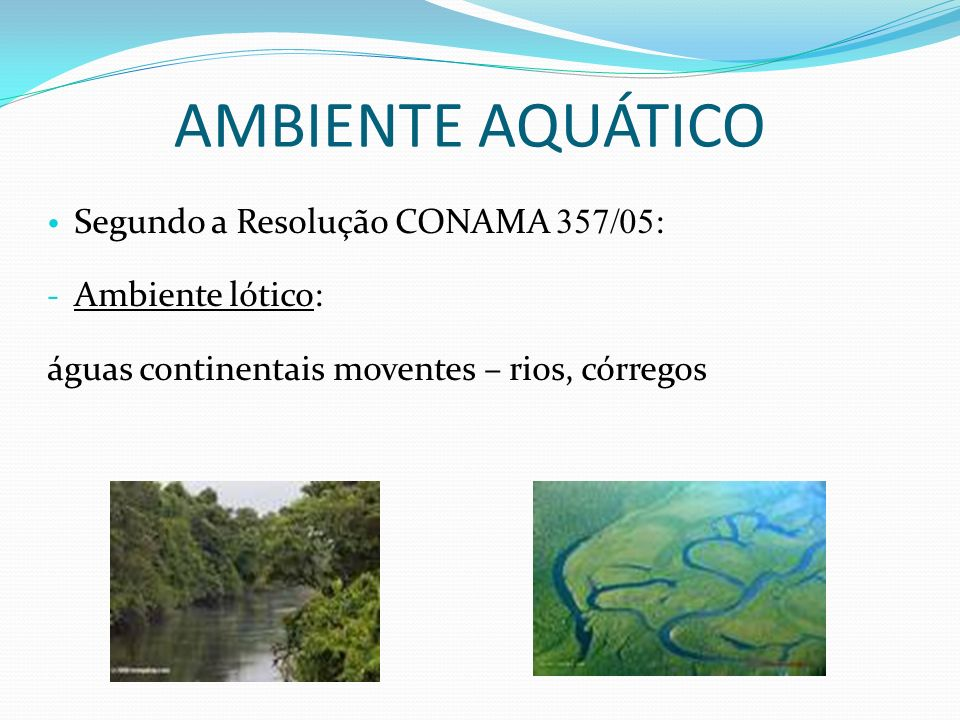 AMBIENTE AQUÁTICO Segundo a Resolução CONAMA 357/05: Ambiente lótico: